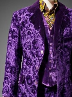 1970. Granny Takes a Trip, Man's suit in three parts (jacket, waistcoat and trousers), about 1970. Rayon velvet, satin weave; plastic.