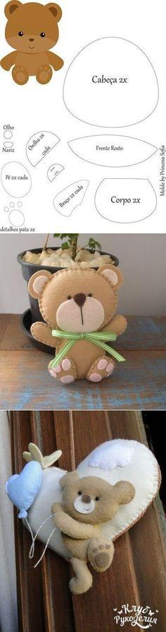 Patrones oso de fieltro