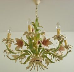 Beautiful Vintage French Tole Toleware Lilies Chandelier Light Lamp 8 Arms Floral Chandelier, Lamp Light, Toleware, French Tole, Bling Light, Painted Chandelier, French Vintage, Light Crafts, Chandelier Lighting