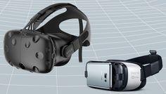 Zariadenie ako HTC Vive headsetu (vľavo) môže poskytnúť pravdivé VR skúsenosti, ale sú drahé a musia byť uviazaný k počítaču.  Jednoduchšie zariadenia ako Samsung Gear VR sú vhodnejšie pre 360 stupňov video.    https://gearpatrol.com/2016/07/18/virtual-reality-vs-360-video/