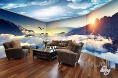 Cloud sea peak theme space entire room wallpaper wall mural decal IDCQW-000036