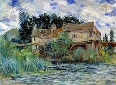 Claude Monet - Maisons sur le vieux pont de Vernon  -1883.                                                                                                                                                      Plus
