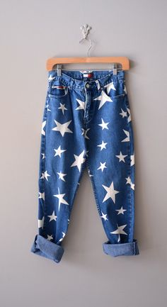 vintage 90s jeans / star print jeans /  American by DearGolden, $54.00
