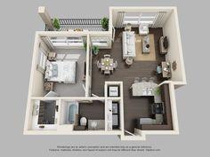 The Pointe at Cabot | 1 Bedroom 1 Bath Pine | Garden Home floor plan
