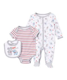 This Light Gray & Red 'Best Friends' Dog Bodysuit Set - Infant is perfect! #zulilyfinds