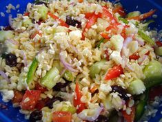 A summery Greek pasta salad for your outdoor barbecue potluck or your family dinner. Greek Salad Pasta, Soup And Salad, Orzo Salad, Vegetarian Recipes, Cooking Recipes, Healthy Recipes, Cooking Food, Soup And Sandwich, Easter Brunch