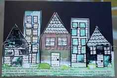 LOVE! DannyB - Here is another page that I did using the gelli printed pages. This time, I took the mono-prints and cut them into shapes to use as houses and buildings.