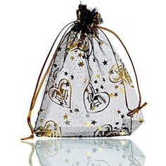 77f4e8782804 Housweety Black Gold Heart Organza Gift Bags Wedding Christmas Favor      Check out the image by visiting the link. (This is an affiliate link)