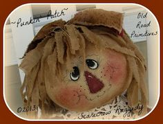 """or Round """"Rag Doll"""" Head Tutorial from Old Road Primitives Scarecrow Doll, Scarecrow Crafts, Scarecrows, Scarecrow Ideas, Primitive Fall, Primitive Crafts, Doll Head, Doll Face, Fall Halloween"""