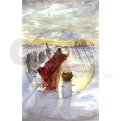 Celebrate the return of the Sun with this card depicting a solitary Yule observance in the snow!
