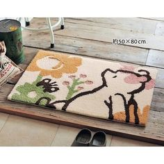 DISNEY Pooh Grippy Entrance Door Mat Room Rug Mini Carpet Made In Japan  E2109