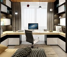 Browse pictures of home office design. Here are our favorite home office ideas that let you work from home. Shared them so you can learn how to work. Home Office Space, Home Office Desks, Office Decor, Office Ideas, Office Workspace, Study Office, Bedroom Office, Bedroom Wall, Office Interior Design