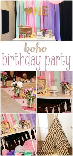 Lilah's Magical Boho First Birthday Party Magical Pastel Boho First Birthday Party. Girl's birthday party ideas 1st Birthday Girls, First Birthday Parties, Birthday Party Themes, First Birthdays, Birthday Ideas, Disney Birthday, 12th Birthday, Themed Parties, Birthday Fun