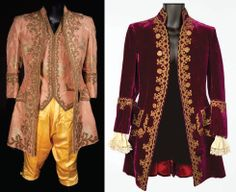 "Left: John Barrymore ""King Louis XV"" peach silk brocade jacket  Right: Joseph Schildkraut ""Duke d'Orleans"" wine velvet coat    Marie Antoinette 1938"