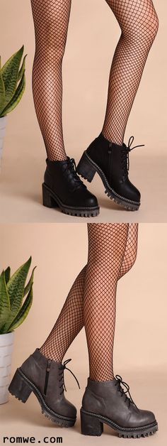 PU Round Toe Lace Up Chunky Ankle Boots