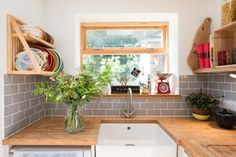 Bright and modern kitchen with belfast sink bamboo worktop and grey tiles - Sheffield Sustainable Kitchens Compact Kitchen, Functional Kitchen, Bespoke Kitchens, Grey Kitchens, Belfast Sink Worktop, Small Kitchen Inspiration, Kitchen Ideas, Ikea Kitchen Design, Eclectic Kitchen