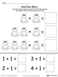 Learning addition by adding one more to the group is an excellent way to introduce this math concept to your child. Use My Teaching Station printable math worksheet to help your child count the number in a group and add one more. Printable Math Worksheets, Addition Worksheets, Worksheets For Kids, Numbers Kindergarten, Kindergarten Math Worksheets, Preschool Activities, Kindergarten Addition, Teaching Addition, Math Addition