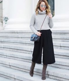 """Stay work week chic in a culottes and boot combo ala @laminlouboutins 