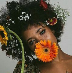 She had flowers in her hair