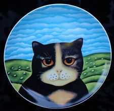 """DEPARTMENT 56 PRISCILLA CATS PLATE BY MARTIN LEMAN 9.25"""" JAPAN EXC."""