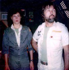 Sigourney Weaver as Ellen Ripley with Tom Skerritt as Captain Dallas behind the scenes on Great Sci Fi Movies, Sf Movies, Alien 1979, Alien Vs, Ridley Scott Movies, Alien Ripley, Saga, Star Trek, Tom Skerritt