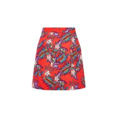 House Of Holland Poplin Patch Pocket Skirt (13,100 INR) ❤ liked on Polyvore featuring skirts, mini skirts, red, floral print a-line skirt, floral mini skirt, red skirt, red mini skirt and short floral skirt
