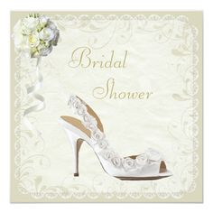 Chic Shoe and Bouquet Bridal Shower 5.25x5.25 Square Paper Invitation Card