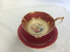 Aynsley England Very Old Teacup and Saucer Burgundy and Gold Flowers Numbered #Aynsley