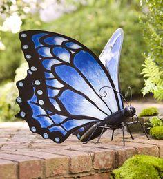 Large Blue Metal Butterfly Garden Statue | Wind & Weather