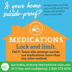 Today is Medications are used more than any other method by teens attempting so make sure yours are locked away safely. If you're worried that someone you know is feeling vulnerable or call Teen Life, Injury Prevention, Public Health, Vulnerability, Alabama, No Worries, Medical, Facts, Feelings