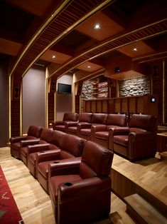Home Theater Design, Charming Rustic Home Theater Room With Elegant Siena Home Theather Chair Also Light Color Pallet Wood Floor Also Small Modern Ceiling Lights With Artistic Ceiling Design: Stunning Modern and Traditional Home Theater Room Design Home Cinema Room, Home Theater Decor, At Home Movie Theater, Best Home Theater, Home Theater Rooms, Home Theater Seating, Home Theater Design, Home Entertainment, Installation Home Cinema