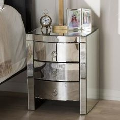 Baxton Studio Florence Hollywood Regency Glamour Style Mirrored Nightstand (Set of Mirrored End Table, Mirrored Furniture, Furniture Sale, Online Furniture, Silver Nightstand, Nightstand Set Of 2, Nightstand Ideas, Leggett And Platt, Baxton Studio