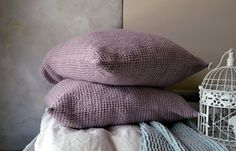 Lilac Linen Pillow case, Waffle Textured, Stonewashed Natural Linen. Euro size