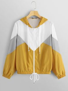 To find out about the Color Block Hooded Jacket at SHEIN, part of our latest Jackets ready to shop online today! Fashion News, Fashion Outfits, Diy Vetement, Aesthetic Clothes, Hoodies, Sweatshirts, Bunt, Nike Jacket, Hooded Jacket