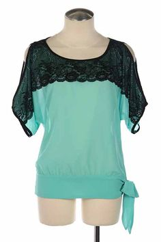 Lace Overlay Top in Blue with side tide hem