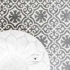 White pouf and ceramic tiles  www.zocohome.com