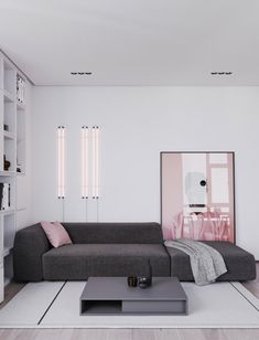 "Pink living room, what is the collision between the most open space in the room and the ""powder""? In the most open living room in… Interior Design Minimalist, Grey Interior Design, Home Interior, Interior Design Living Room, Kitchen Interior, Bauhaus Interior, Contemporary Interior, Interior Ideas, Kitchen Decor"