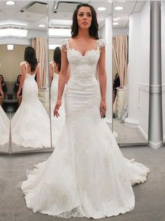 Buy Modern Sweetheart Cap Sleeves Lace Appliques Open Back Mermaid Wedding Dresses WD-71136 Trumpet/Mermaid Wedding Dresses under US$ 269.99 only in SimpleDress.
