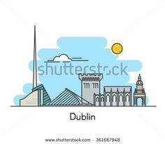Dublin city skyline background. Capital of Ireland. Line flat trendy illustration.