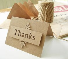 Items similar to thank you notes, kraft, die cut with handmade envelopes from grocery bags monochromatic, simple on Etsy Paper Cards, Diy Cards, Your Cards, Wedding Cards Handmade, Greeting Cards Handmade, Handmade Thank You Cards, Scrapbook Cards, Scrapbooking, Tarjetas Diy