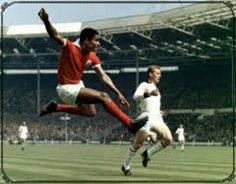AC Milan 2 Benfica 1 in May 1963 at Wembley. Eusebio shoots for goal in the European Cup Final.