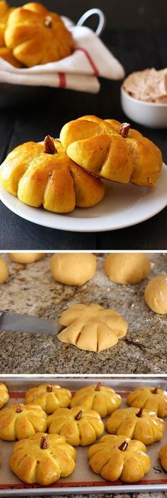 Pumpkin Bread Rolls with Cinnamon Butter - EVERYONE loves these!