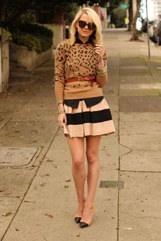 Oh my gosh, I LOVE this outfit! Very clever way to combine animal print and stripes.