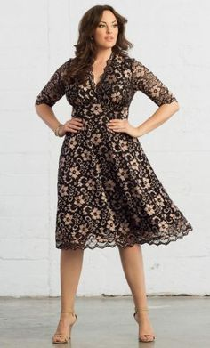 Curvalicious Clothes :: Plus Size Dresses :: Mademoiselle Lace Dress - Rose Gold & Onyx