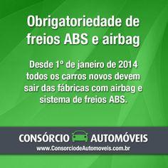 #DicasParaCarros  Bom dia! Entenda a determinação aprovada pelo Conselho Nacional de Trânsito através da matéria: https://www.consorciodeautomoveis.com.br/noticias/airbag-e-freios-abs-sao-itens-obrigatorios-em-carros-novos?idcampanha=206&utm_source=Pinterest&utm_medium=Perfil&utm_campaign=redessociais