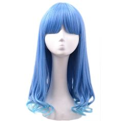 Blue Ladies Rinka Haircut Cute Wig ($17) ❤ liked on Polyvore featuring beauty products, haircare, hair styling tools, hair, wigs, hairstyles and blue
