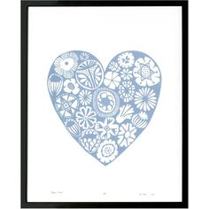 Lu West - Flower Heart in Serenity Blue (€74) ❤ liked on Polyvore featuring home, home decor, wall art, flower stems, motivational wall art, blue home accessories, blossom wall art and inspirational wall art