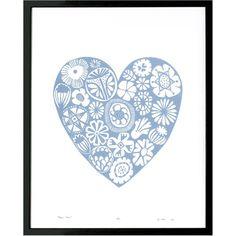 Lu West - Flower Heart Print in Black Motivational Wall Art, Inspirational Wall Art, Wall Art Quotes, Black Framed Wall Art, White Wall Art, Flower Frame, Flower Wall, Heart Wall Art, Blue Home Decor
