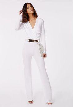 40a3bf4056c Deliana Long Sleeved Wrap Wide Leg Jumpsuit White - Jumpsuits - Missguided   47.48 White Jumpsuit Formal