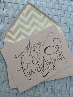 Bridesmaid Calligraphy Cards for Wedding Kraft by GreySnailPress, $4.00 #type